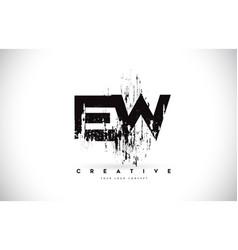 Ew e w grunge brush letter logo design in black vector