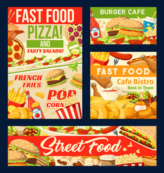 fastfood restaurant and street food posters vector image