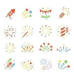 Firework color icon set with burst petard stars vector image