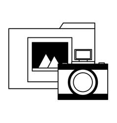 folder file photo camera vector image