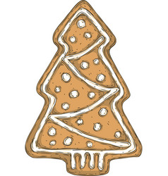 gingerbread tree isolated on a white vector image