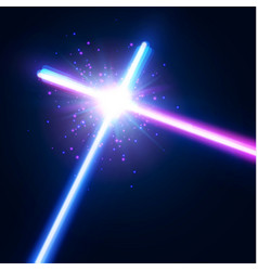 glowing rays in space crossing laser sabers war vector image