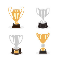 Gold and silver cup trophies set vector