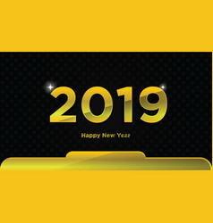 gold happy new year 2019 text design background vector image