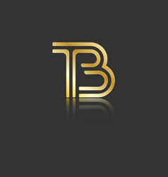 Gold stylized lowercase letters t and b vector