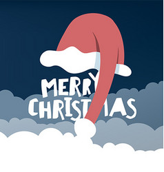 Greeting card with santas hat vector