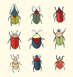 Hand drawn set of whimsical cute bugs vector