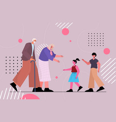 happy grandparents spending time vector image