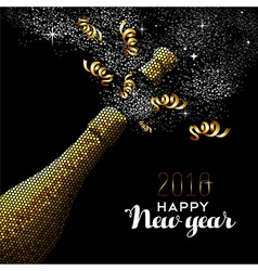 Happy new year 2016 gold drink bottle party mosaic vector image