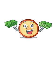 Happy rich apple chips character with money vector