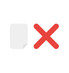 Icon concept of blank paper with x mark vector