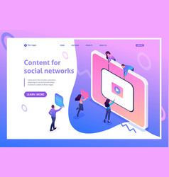 Isometric content creation for social networks vector