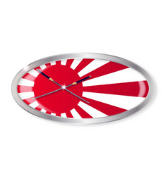 Japanese flag and swords oval button vector
