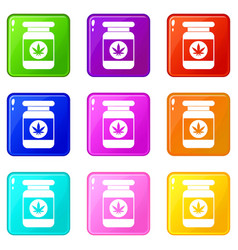 Jar of powder marijuana set 9 vector