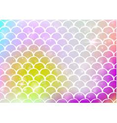 kawaii mermaid background with princess rainbow vector image