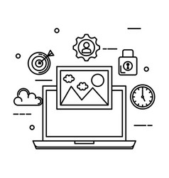 laptop with picture and business set icons vector image