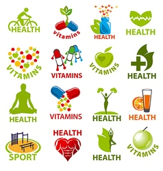 large set logos for health vector image