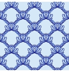 Lattice from blue flowers and leaves A seamless vector image