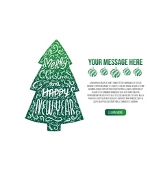 Lettering Christmas tree vector