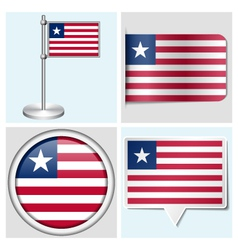 Liberia flag - sticker button label flagstaff vector