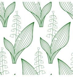 Lily of the valley contour pattern vector