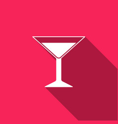 martini glass icon with long shadow cocktail icon vector image