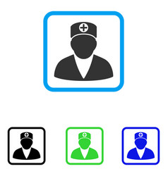 medic person framed icon vector image