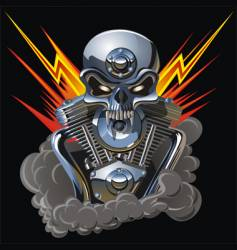 Metal skull with engine vector