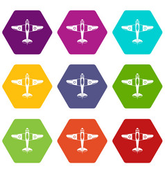 military fighter plane icon set color hexahedron vector image