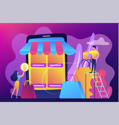 Mobile based marketplace concept vector