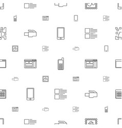mobile icons pattern seamless white background vector image