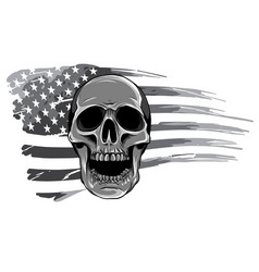 monochromatic draw skull and flag usa vector image