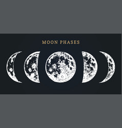 Moon phases image on black background hand drawn vector