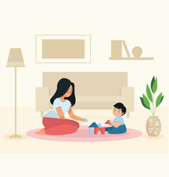 mother and son playing at home vector image