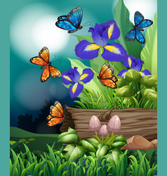 Nature scene with butterfly and iris flowers vector