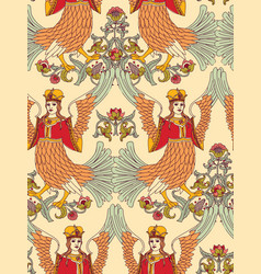 Old slavic vintage ornament bird seamless pattern vector