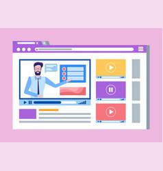 Online courses lead by male teacher man video vector