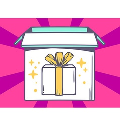 Open box with icon of gift box on pink p vector