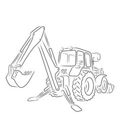 Outline of backhoe loader vector image