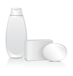 Oval soap with white box adn cosmitic bottle vector