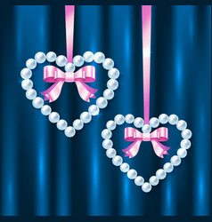 Pearl hearts with pink ribbons and bows vector