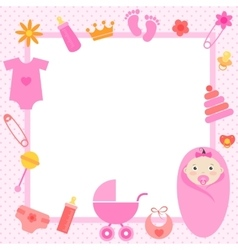 Pink frame with baby girl elements vector
