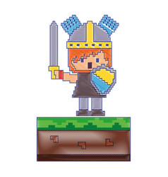 Pixel character knight video game vector