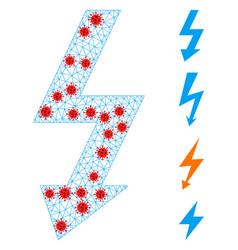 Polygonal network high voltage icon with pathogen vector