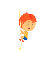 Redhead boy climbing up the rope kids physical vector