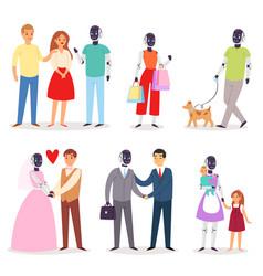 Robot humanoid family helpers people vector