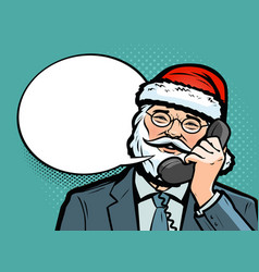 santa claus talking on phone christmas vector image