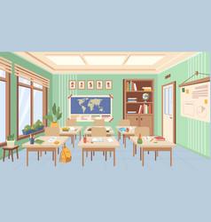 School classroom inetrior rows desks and books vector