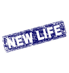 Scratched new life framed rounded rectangle stamp vector