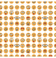 Seamless pattern with hand drawn emoticons doodle vector image